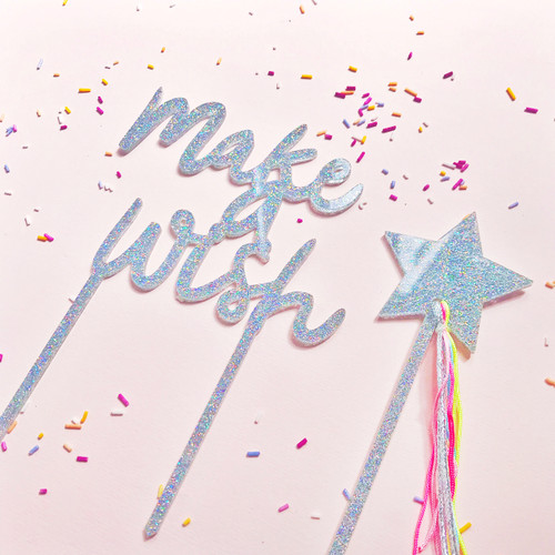 Make A Wish Iridescent Glitter Cake Topper Decoration