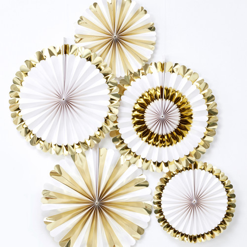 Gold Foil Fan Decoration Set for Christmas, Birthday and Wedding Venue Decor