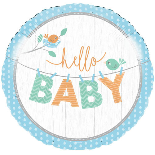 Blue Hello Baby Helium Foil Baby Shower Balloon