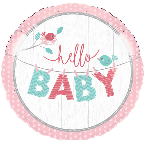 Pink Hello Baby Helium Foil Baby Shower Balloon