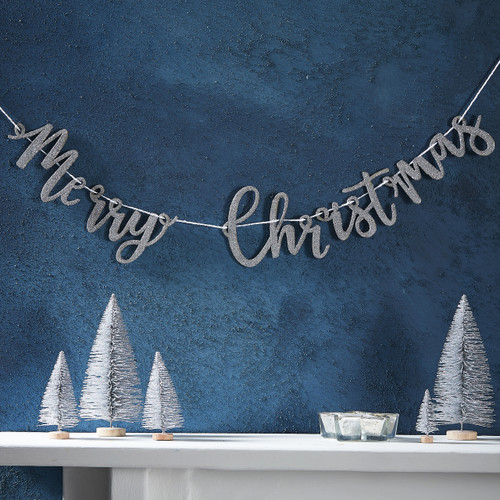 Silver Glitter Merry Christmas Bunting
