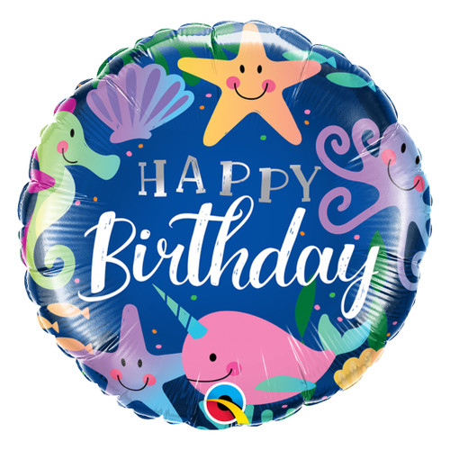 Under the Sea Happy Birthday Helium Foil Balloon for Mermaid Themed Birthday Parties