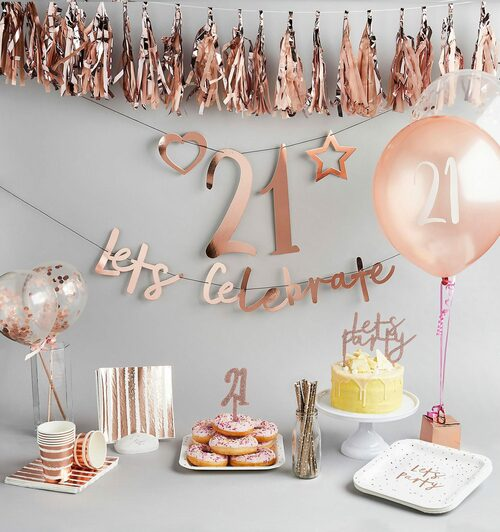 Create Your Own Birthday Rose Gold Bunting Party Decoration for Milestone Birthday Age Venue Decor