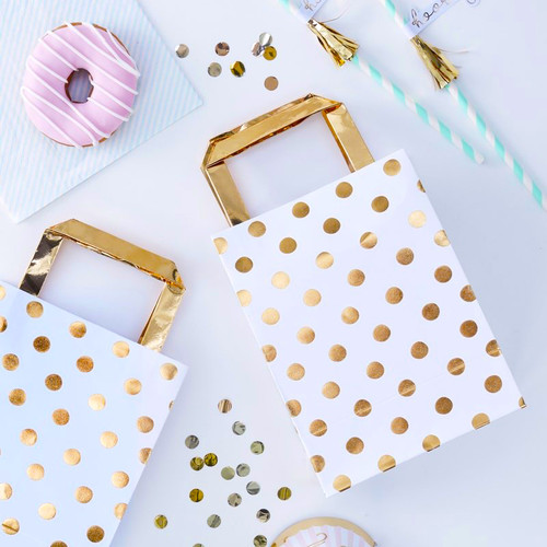 Gold Foil Polka Dot Party Bags for Baby Shower and Hen Party Favours or Birthday Gifts