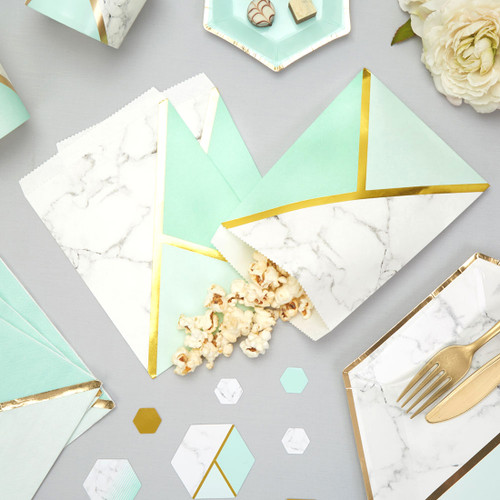 Marble and Mint Paper Bags Party Accessory for Birthday, Baby Shower, Hen Party or Wedding Party Favours and Gifts