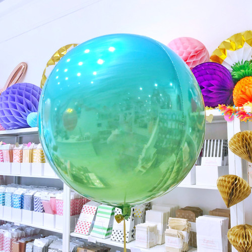 Aqua Ombre Orb Foil Helium Balloon Party Decoration for Under the Sea and Mermaid Themed Birthday Parties