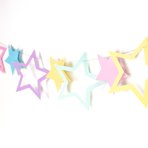 Pastel Star Garland Party Decoration for Unicorn Themed Birthday Parties, Baby Shower and Hen Party Venue Decor