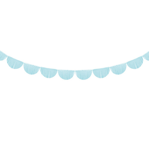 Light Blue Scallop Fringe Garland Party Decoration for Baby Shower and Wedding Venue Decor