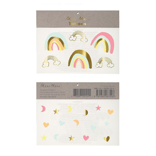 Neon Rainbow Temporary Tattoos Party Accessory for Children's Birthdays and Party Favours