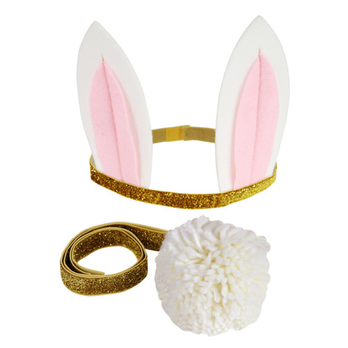 Bunny Rabbit Ears and Tail Dress Up Kit Party Accessory for Children's Fancy Dress Birthday Parties