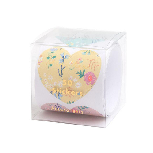 Floral Heart Stickers Party Accessory for Crafting, Presents and Finishing Touches