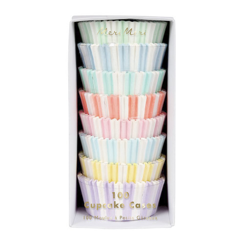 Pastel Striped Cupcake Cases Party Accessory for Birthday Cakes and Baking