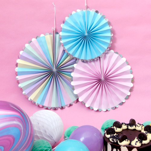 Pastel Party Fan Decoration Set
