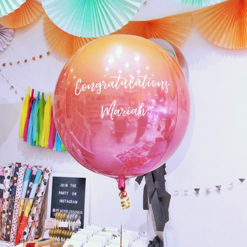 Personalised Lava Ombre Orb Balloon