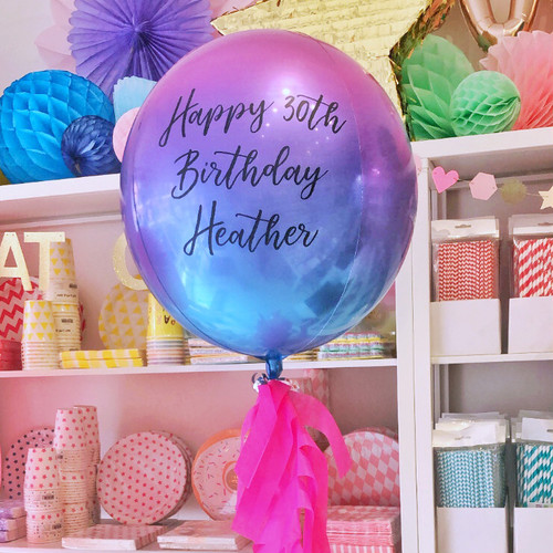 Personalised Unicorn Ombre Orb Balloon for Unicorn Themed Birthdays, Baby Showers and Weddings