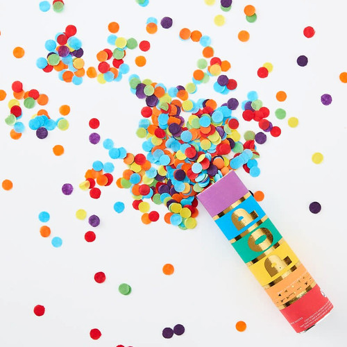 Rainbow Confetti Canon for Colourful Themed Birthday Parties and Weddings