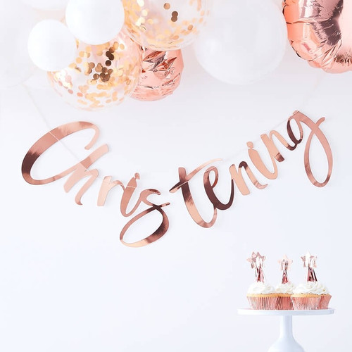 Rose Gold Christening Garland for Christening Venue Decor