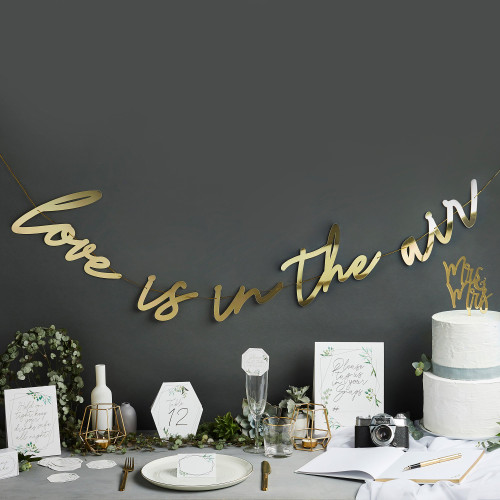 Gold Love Is in The Air Garland for Hen Party, Anniversary or Wedding Venue Decor