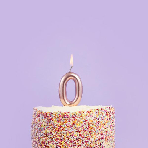 Rose Gold 0 Number Candle for Birthday Cakes and Anniversaries