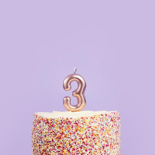Rose Gold 3 Number Candle for Birthday Cakes and Anniversaries