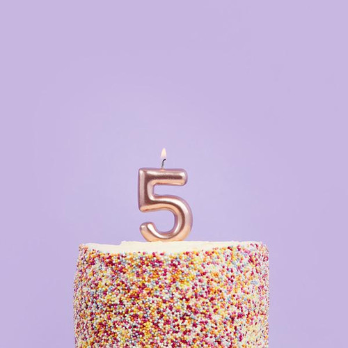 Rose Gold 5 Number Candle for Birthday Cakes and Anniversaries