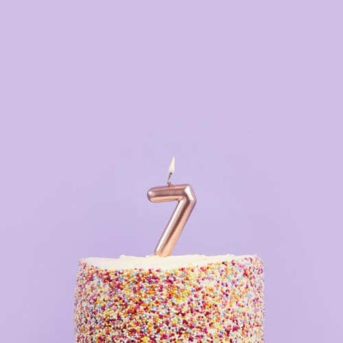 Rose Gold 7 Number Candle for Birthday Cakes and Anniversaries