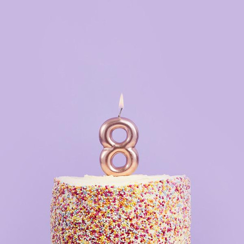 Rose Gold 8 Number Candle for Birthday Cakes and Anniversaries