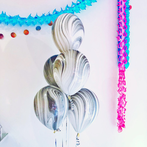 Black and White Marble Latex Balloons