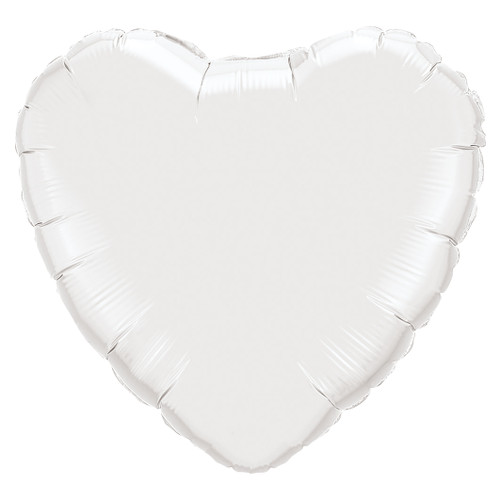 Small White Heart Foil Balloon