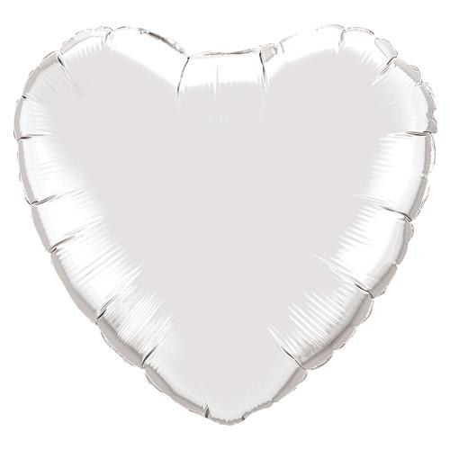 Small Silver Heart Foil Balloon