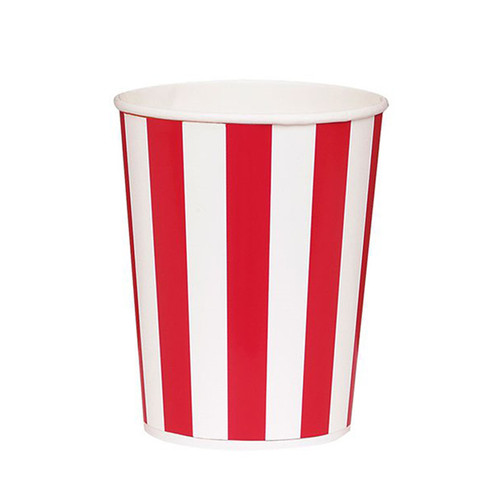 Red Striped Popcorn Buckets Party Decoration for Movie Themed Birthdays or Cinema Parties