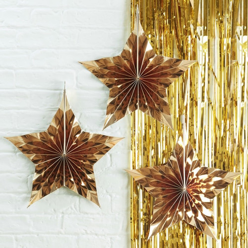 Gold Foil Star Set Party Decoration for Festive Christmas Decor
