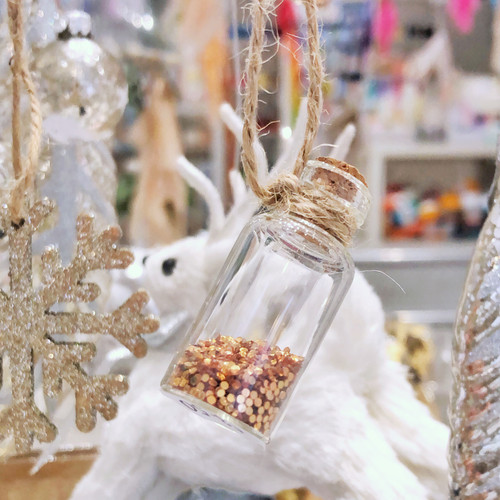 Mini Christmas glass glitter bottle tree hanging decoration