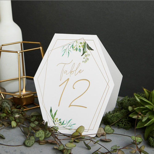 Gold geometric boho modern wedding table numbers
