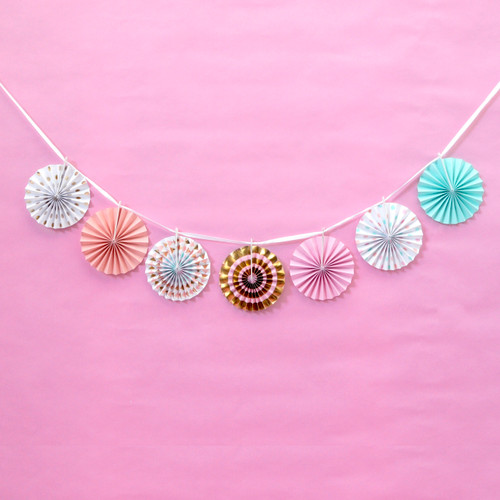Mini Pastel Paper Fan Garland Party Decoration for Birthdays, Baby Showers or Home Decor