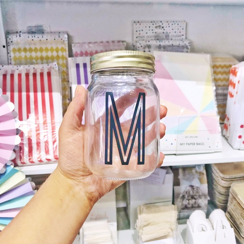 Personalised initial glass kilner jar gift for drinks, snacks or home storage