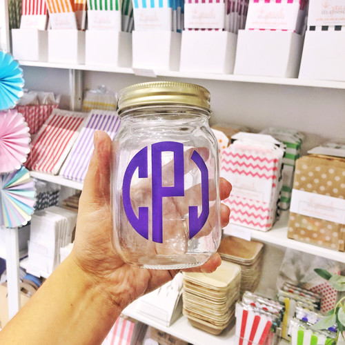 Personalised monogram glass kilner jar gift for drinks, snacks or home storage
