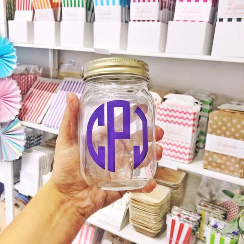 Personalised monogram glass kilner jar gift for drinks, snacks or home storage