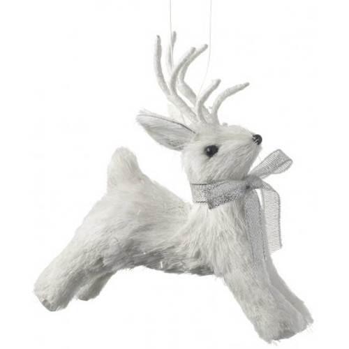 Chic white reindeer Christmas hanging tree decoration