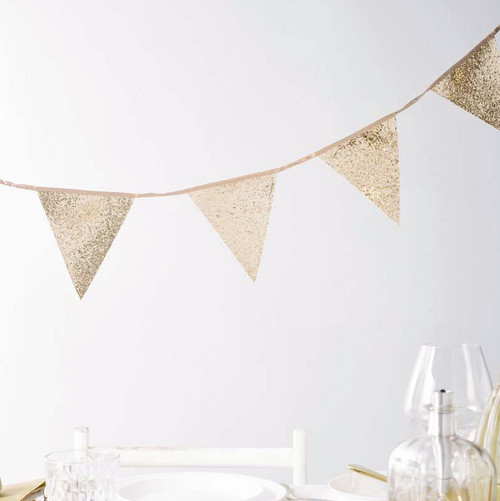 Gold Glitter Sequin Hanging Bunting Decoration for Christmas Parties, baby showers, birthday parties and hen dos.
