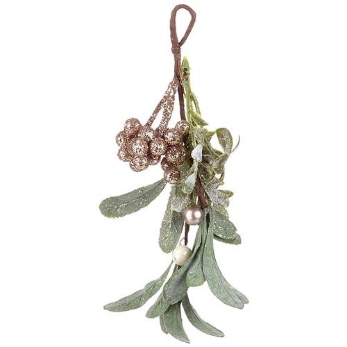 Gold glitter mistletoe Christmas hanging decoration