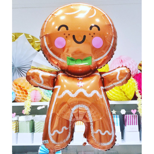 Gingerbread man Christmas foil party balloon decoration