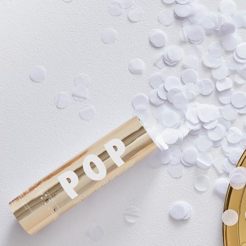 White biodegradable confetti cannon