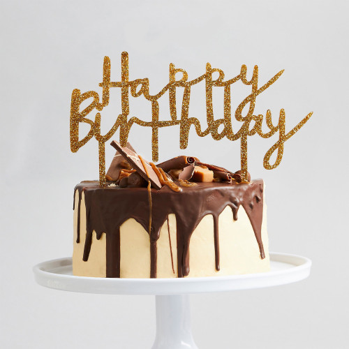 Gold Glitter Happy Birthday Cake Topper for Glam Birthday Cakes and Tray Bakes
