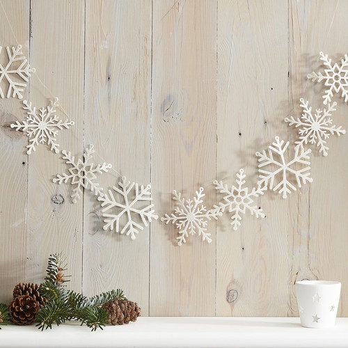 White Glitter Snowflake Garland Party Decoration for Chic White Christmas Decor