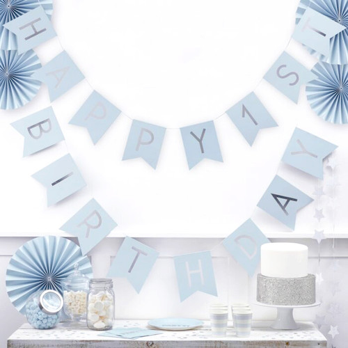 Pastel blue and silver 1st birthday party bunting decoration