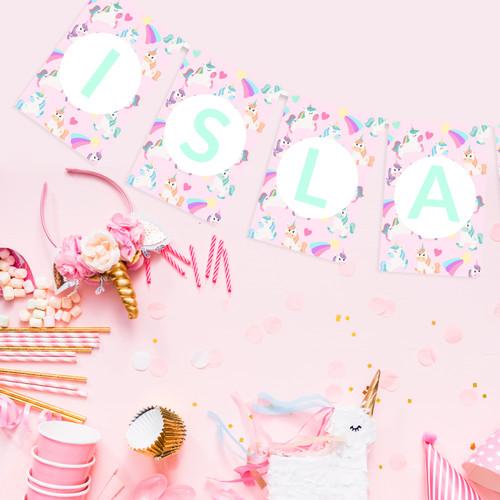 Personalised Unicorn Bunting Party Decoration for Pastel Unicorn Themed Birthdays, Baby Showers or Nursery Decor
