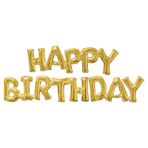 Gold Happy Birthday Air Fill Balloon Kit