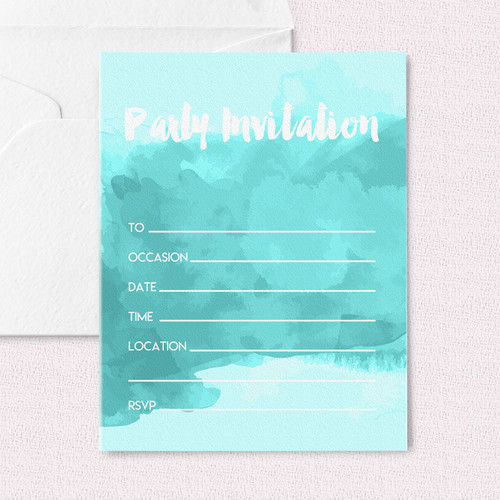 Water Colour Party Invitations for Birthdays, Hen Parties, Weddings and Baby Showers