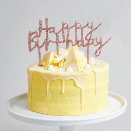 Rose Gold Glitter Happy Birthday Cake Topper for Glam Sparkly Birthday Cake